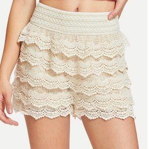 Mine Cream Crochet Lace High Waisted Layered Short